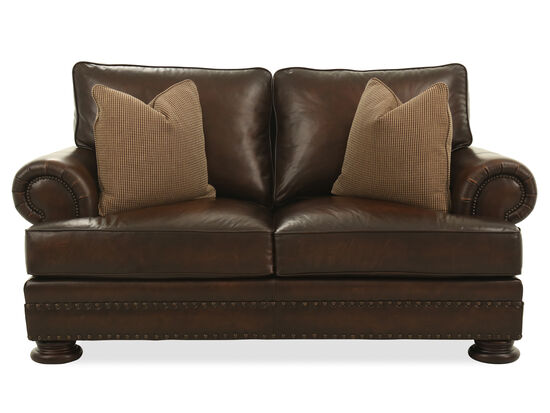 Nailhead-Trimmed European Classic Loveseat in Dark Brown