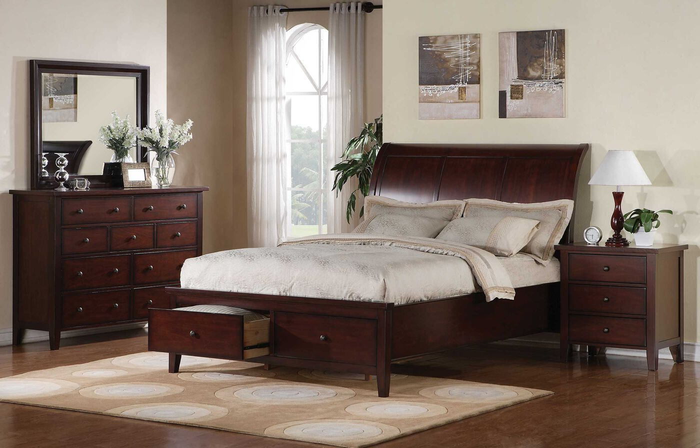 "56"" Traditional Framed Sleigh Storage Bed in Dark Cherry ..."