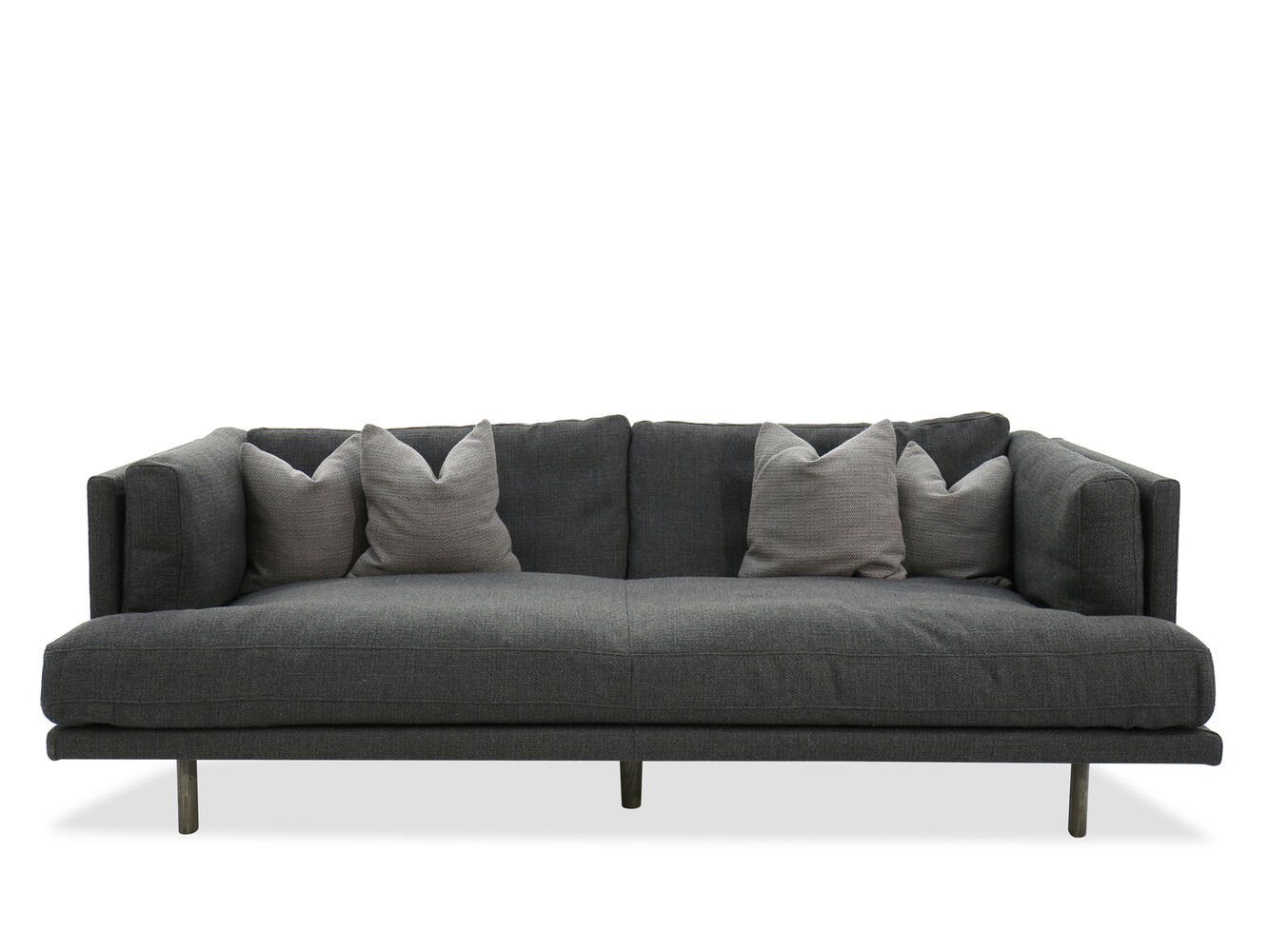 modern low profile 98 shelter sofa in gray mathis brothers furniture. Black Bedroom Furniture Sets. Home Design Ideas