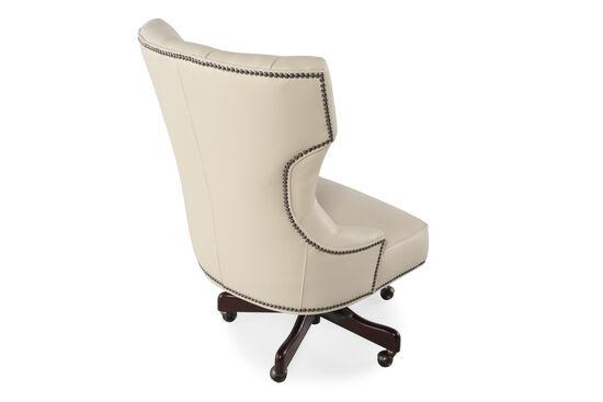 Leather Button-Tufted Swivel Tilt Desk Chairin Ivory