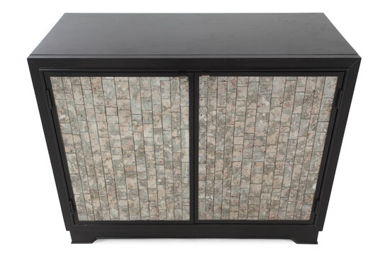 """32"""" Contemporary Mirrored Glass-Inset Chest in Jet Black"""