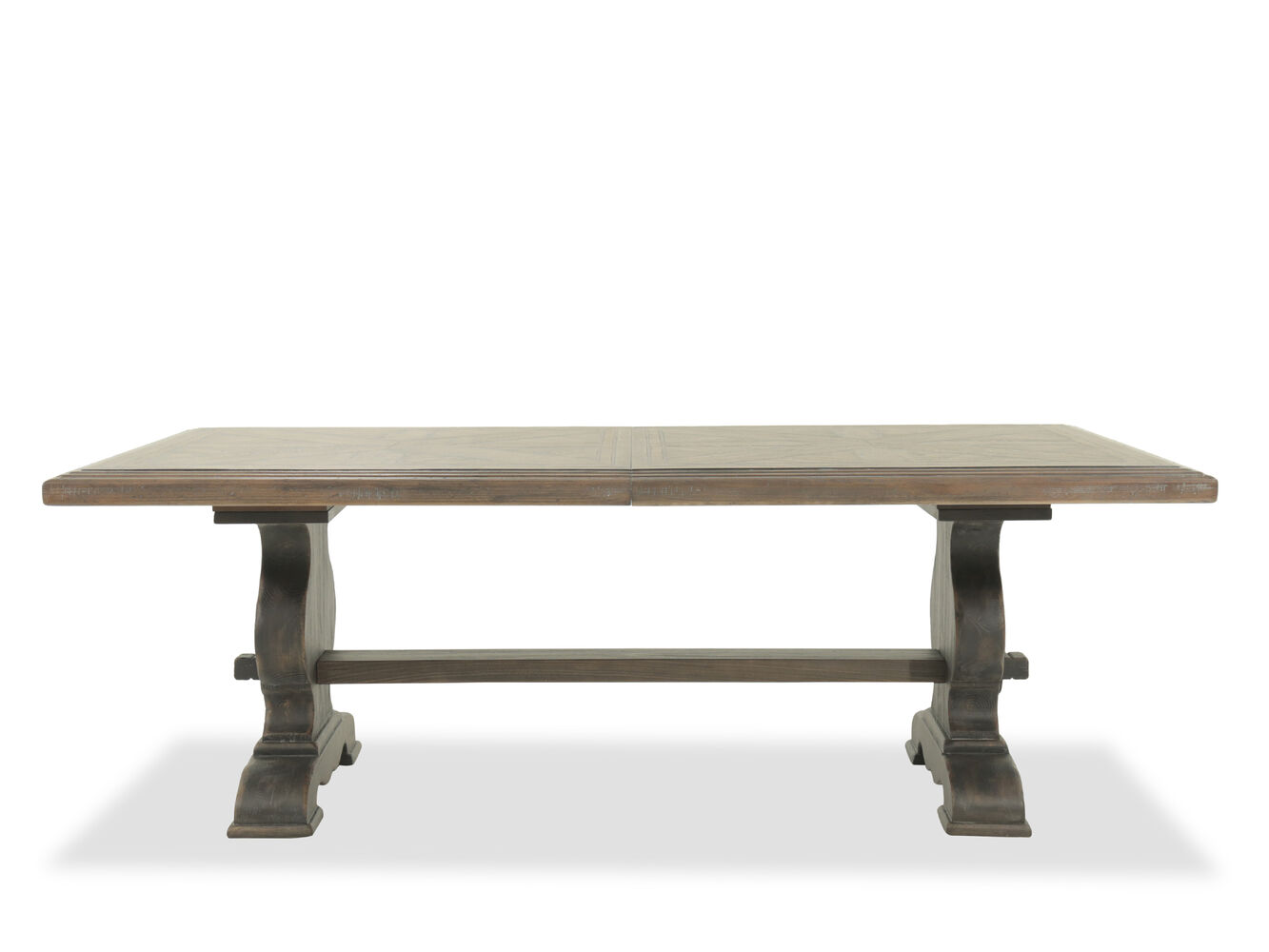 Refined romantic luxury 44 to 122 solid wood trestle table in dark brown mathis brothers - Luxurious dining tables ...