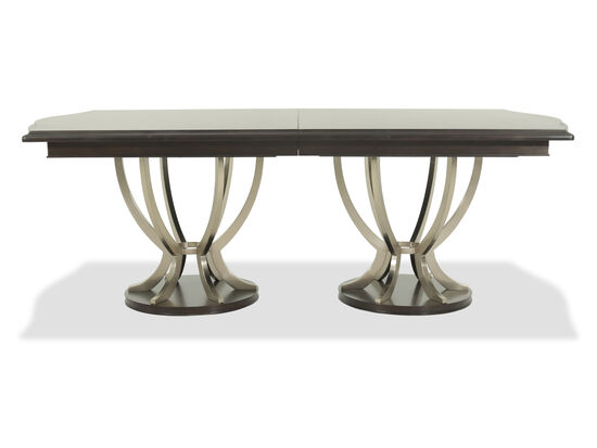 "Casual 46"" to 115"" Steel Pedestal Table in Dark Brown"