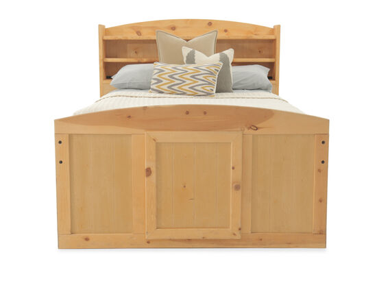 Traditional Planked Youth Bookcase Bed with Storage Drawer in Cinnamon