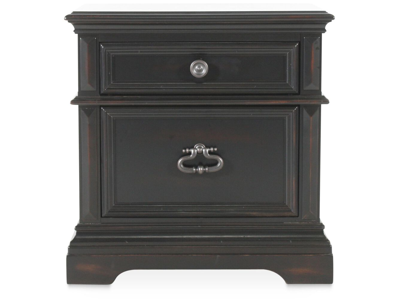 """30"""" Traditional Two-Drawer Nightstand In Black"""