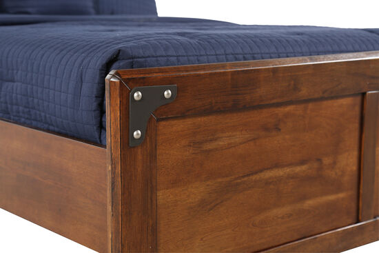 Casual Bracket-Accented Youth Panel Bed in Brown