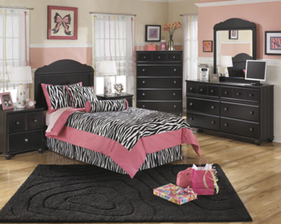 Transitional Two-Drawer Youth Nightstand in Black