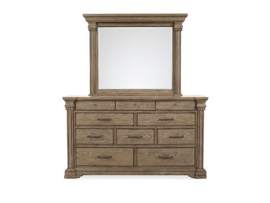 Traditional Ten-Drawer Dresser & Mirror in Griege