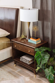 "29"" Mid-Century Modern Nightstand in Walnut"