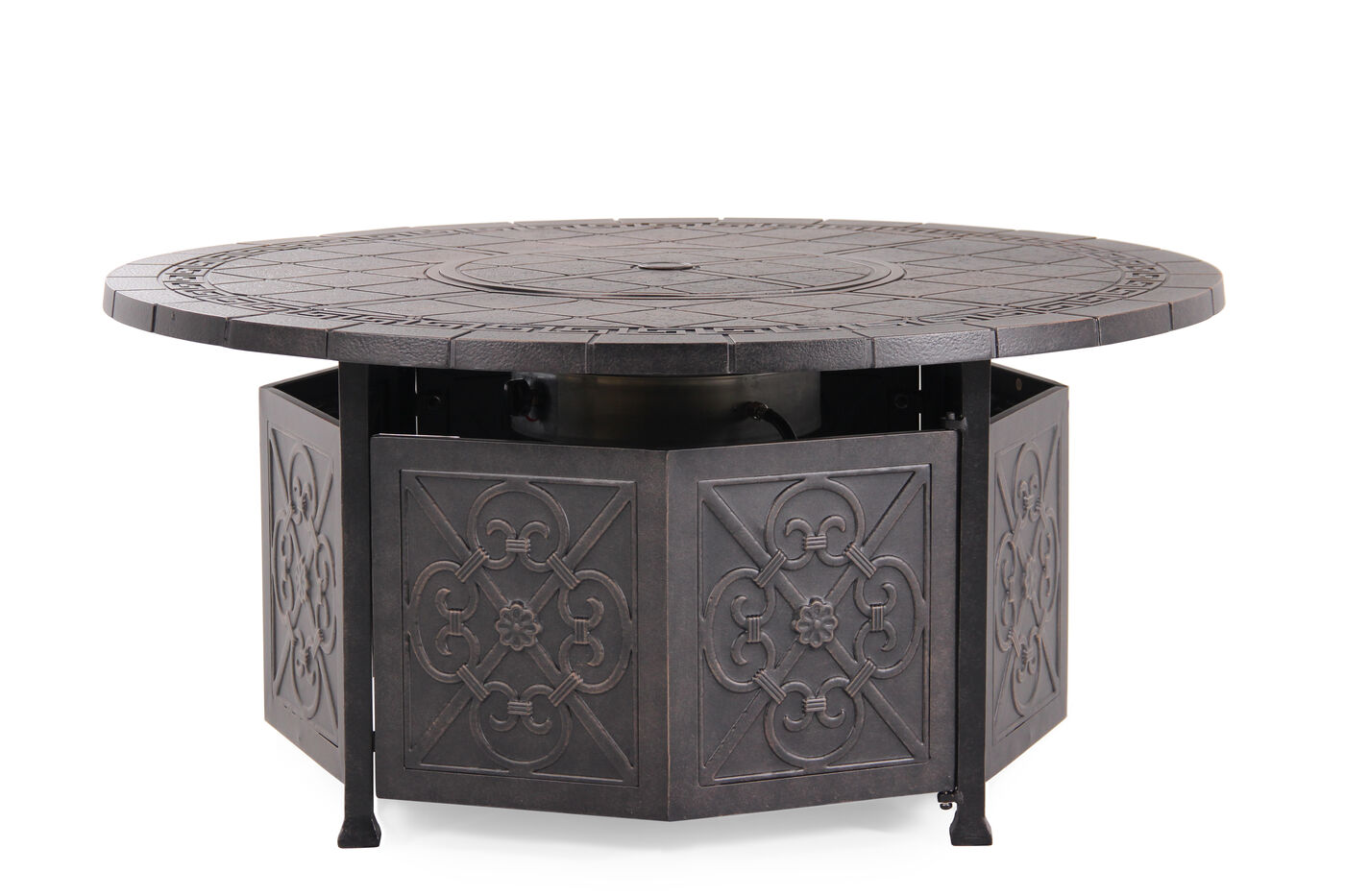 Embossed aluminum gas fire pit table in dark brown for Table 52 petroleum