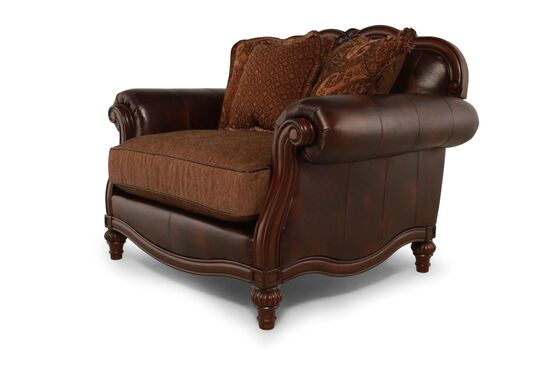 "Rolled Arm Traditional 56"" Chair and a Half in Brown"