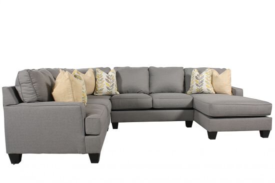 "Four-Piece Contemporary 37.5"" Sectional in Alloy"