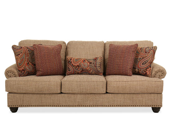 "92"" Nailhead-Trimmed Casual Sofa in Beige"