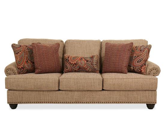 "92"" Nailhead-Trimmed Casual Sofa in Beige"