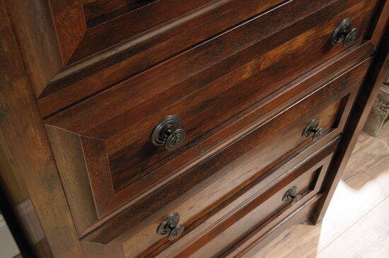 "45.5"" Contemporary Paneled Four-Drawer Chest in Curado Cherry"