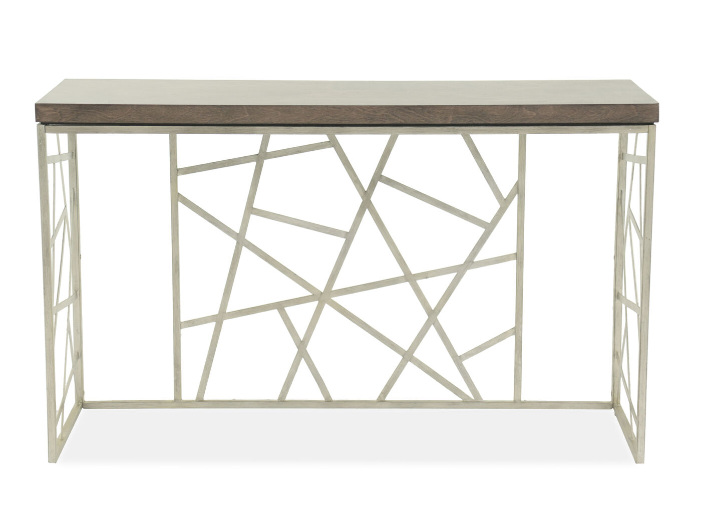 Geometric Base Transitional Sofa Table In Smoked Gray Mathis  ~ Transitional Sofa Tables