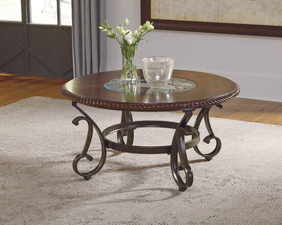 Round Traditional Cocktail Table in Reddish Brown