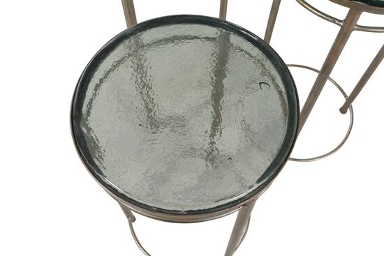 Three-Piece Round Modern Bunching Chairside Table Set