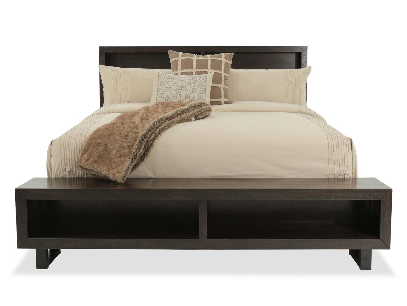 53 Quot Mid Century Modern Storage Bed In Dark Brown Mathis