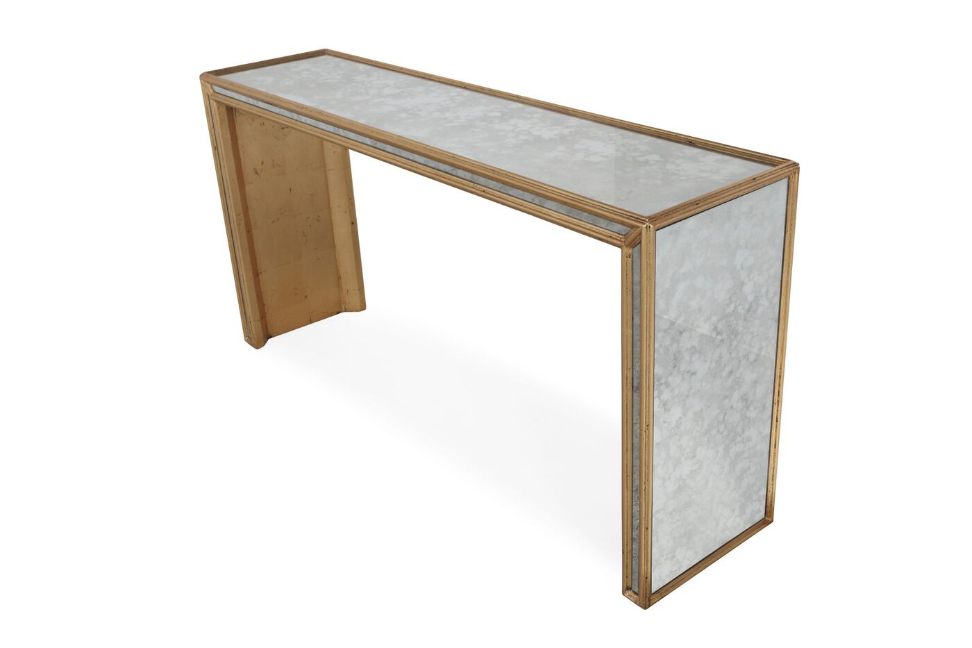Mirror paneled top glam console table in antiqued gold for Console salon
