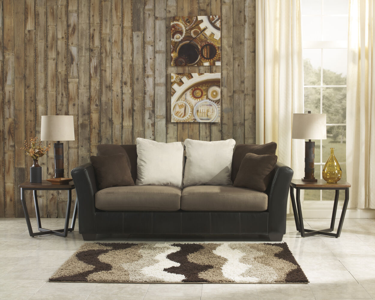 Contemporary 90 sofa in dark brown mathis brothers for Brother v brother living room