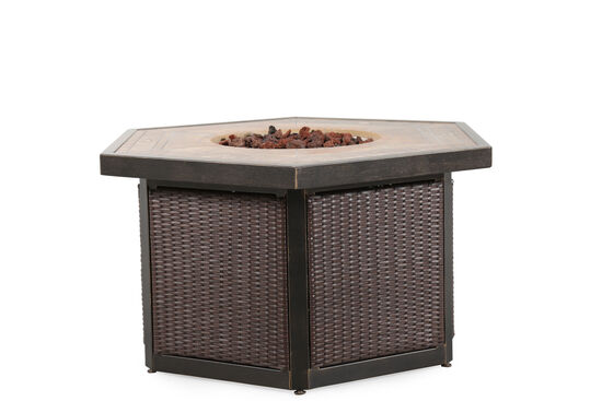 Casual All-Weather Wicker Fire Pit Table in Dark Brown