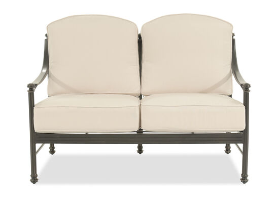 Curved Arm Aluminum Loveseat in Cream