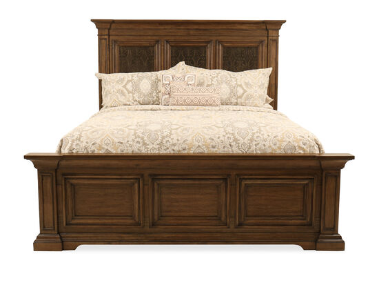 Traditional Paneled King Bed in Medium Brown