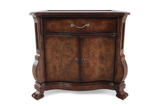 "30"" Traditional Distressed Nightstand in Dark Brown"