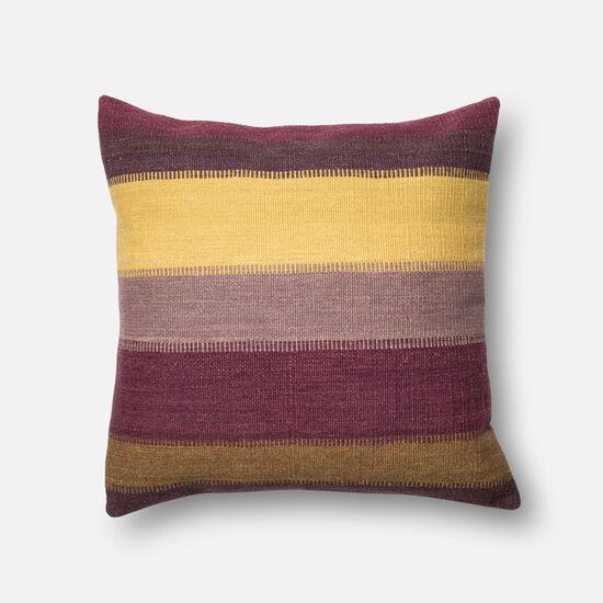 "Contemporary 22""x22"" Cover w/Down Pillow in Plum/Multi"