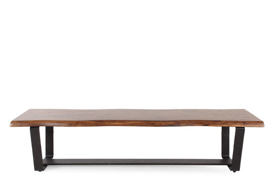 "Contemporary 76"" Double Pedestal Bench in Dark Brown"