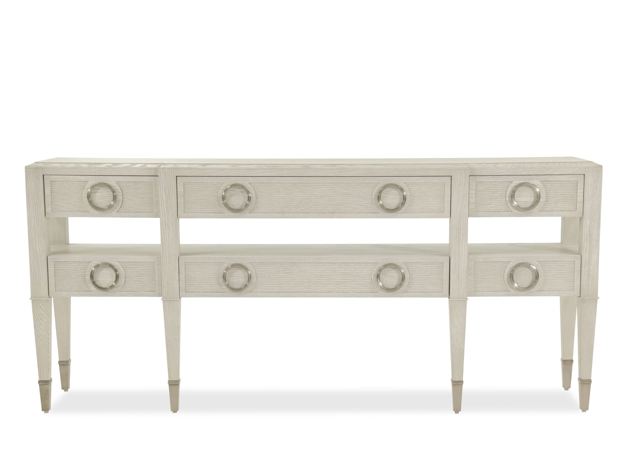 SixDrawer Modern Console Table in Dove White Mathis Brothers