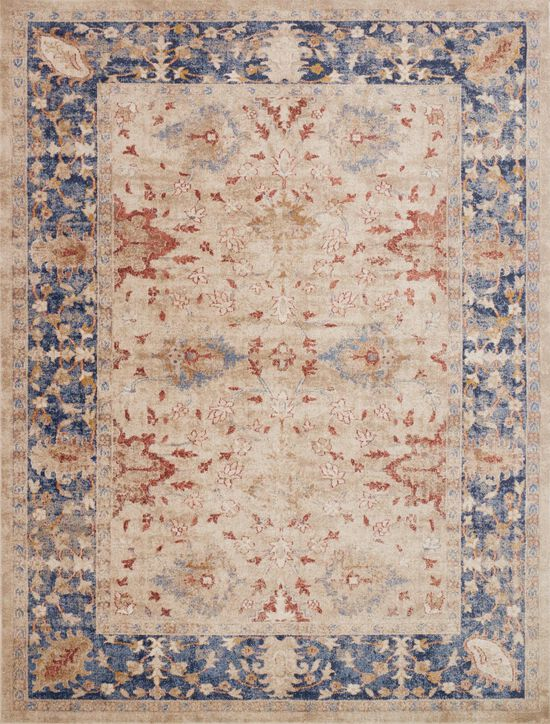 """Traditional 2'-7""""x4' Rug in Sand/Blue"""