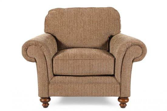 "Textured Traditional 44"" Chair in Nut-Brown"