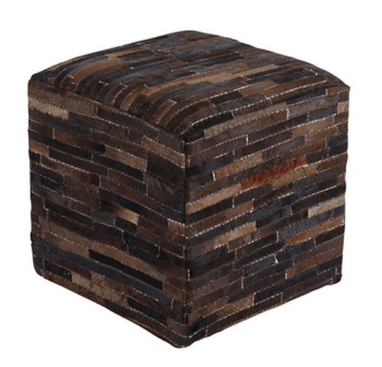 """Striped Transitional 19"""" Cowhide Pouf in Brown"""