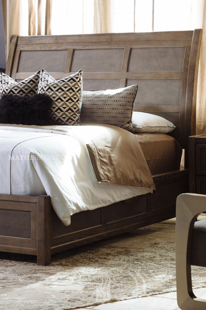 66 Quot Paneled Modern Sleigh Bed In Brown Mathis Brothers