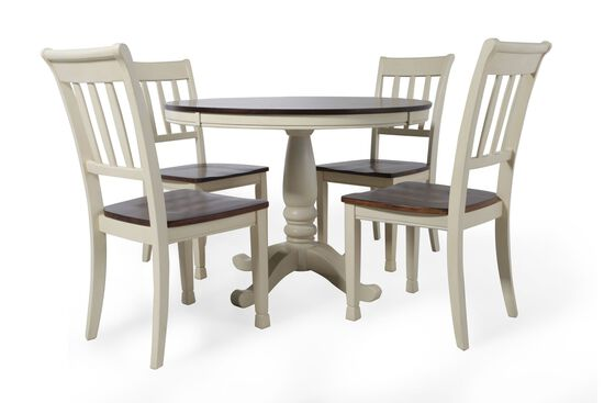 Five-Piece Cottage Round 42'' Dining Set in Buttermilk
