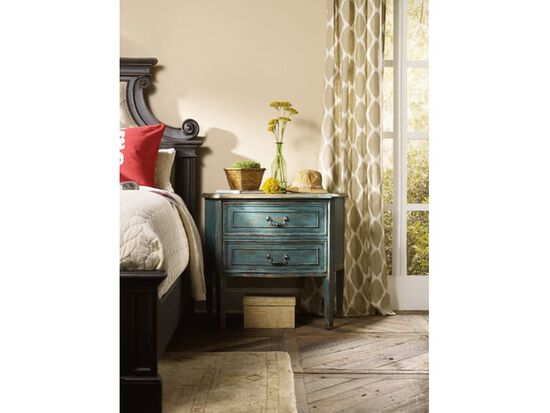 Two-Drawer Transitional Bachelors Chest in Dark Azure Blue