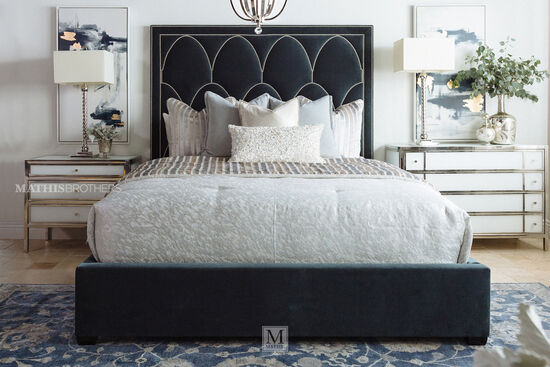 """72"""" Modern Nailhead Accented California King Panel Bed in Blue"""