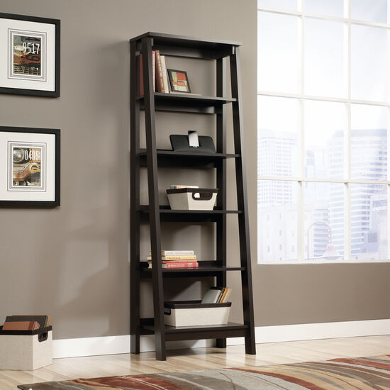 Five-Shelf Transitional Bookcase in Jamocha Wood