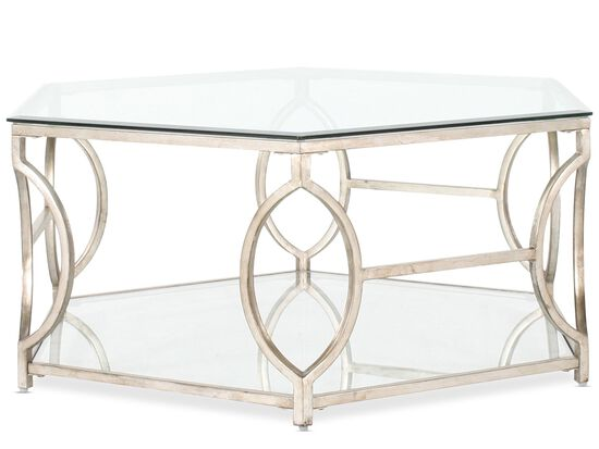 Hexagonal Traditional Cocktail Table in Antique Gold