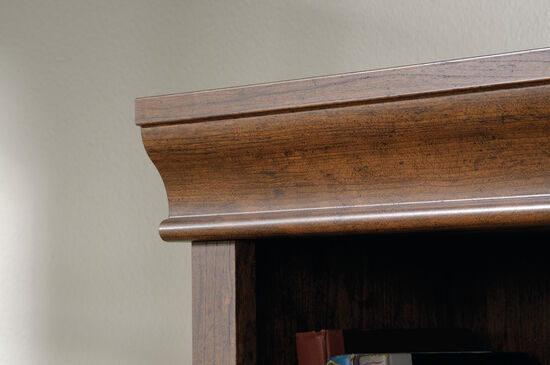 Contemporary Adjustable Shelf Open Library in Milled Cherry