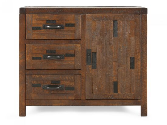 32'' Three-Drawer Casual Accent Chest in Weathered Brown