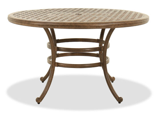 Round Aluminum Dining Table in Brown