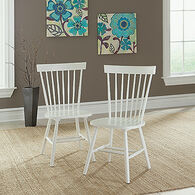 MB Home Hampton White Pair of Spindle Back Chairs