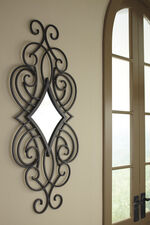 "48"" Traditional Diamond Shaped Accent Mirror in Matte Black"
