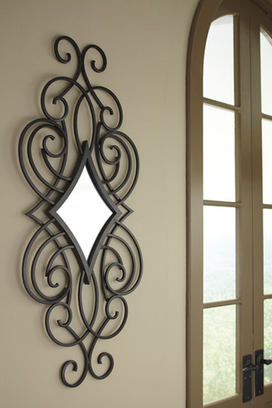"""48"""" Traditional Diamond Shaped Accent Mirror in Matte Black"""