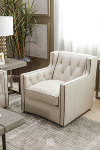 """Button-Tufted Leather 33.5"""" Chair in Beige"""