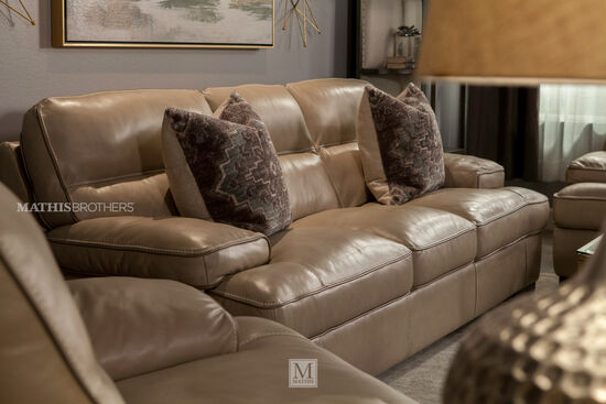 "Contemporary Leather 91"" Sofa in Wheat"