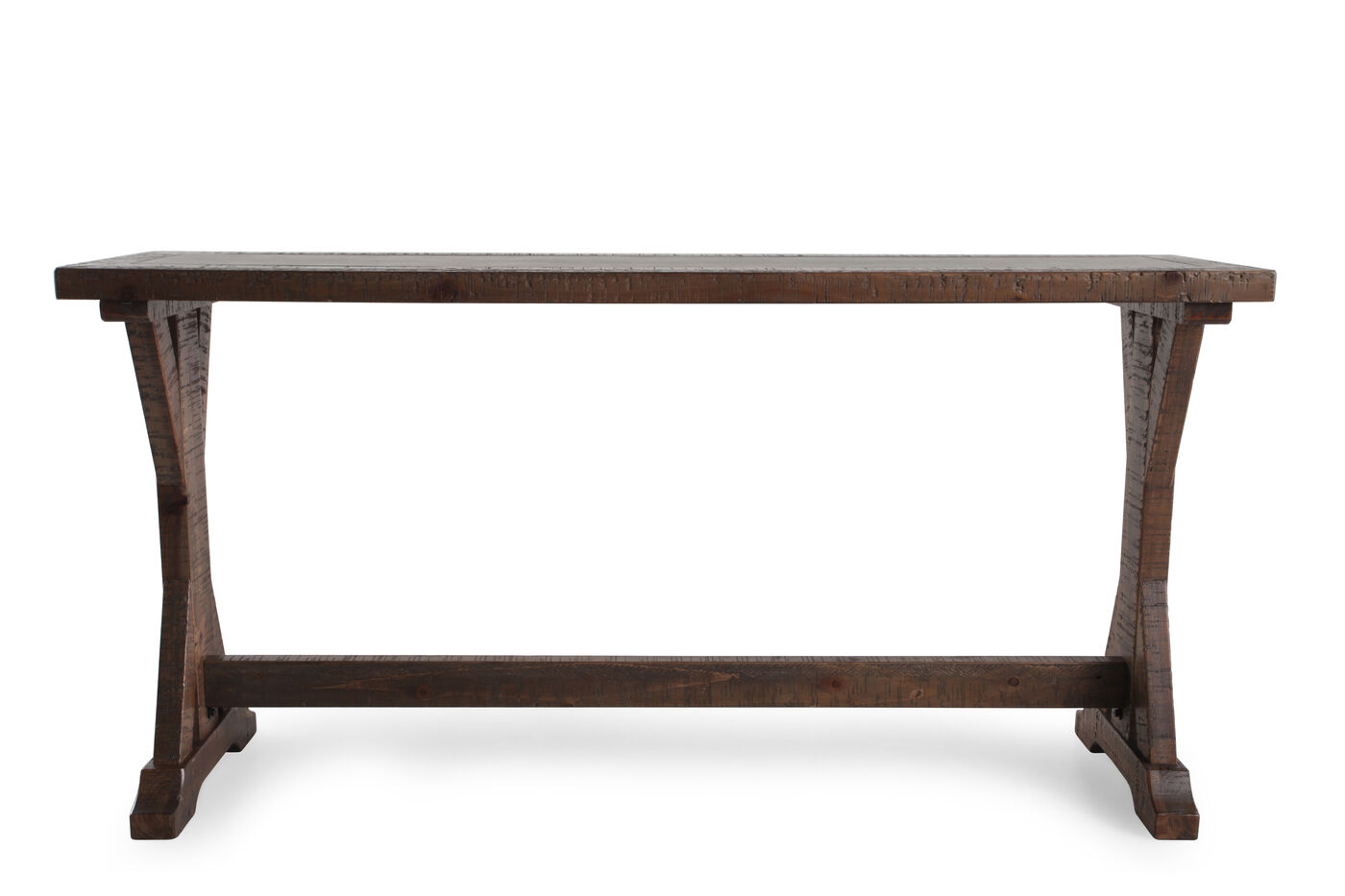 X-Braced Sides Casual Sofa Table in Brown | Mathis brothers Furniture